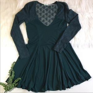 Kimchi Blue Teal Lace Skater Dress | Size Medium